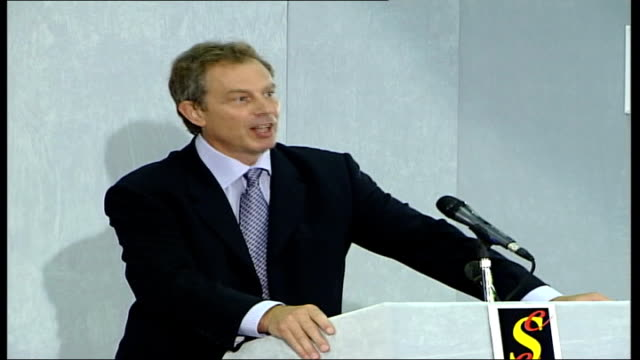 mr blair promises to produce more evidence; england: sedgefield: ext tony blair mp down steps from building int blair along to stage tony blair mp... - iraq stock videos & royalty-free footage