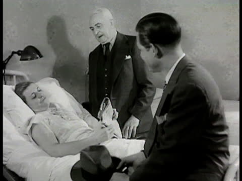 mr conrad mrs conrad's father in hospital room talking w/ 'mrs conrad' father saying he can't believe how well she is she saying she feels fine... - 1948 stock videos and b-roll footage