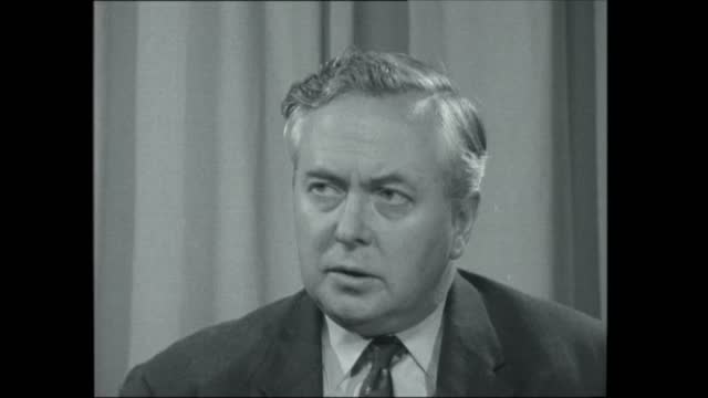 mr harold wilson interview; england: london: transport house: int 2-shot and mr harold wilson mp interview sof. - on austerity budget neg 16mm itn - itv evening bulletin stock videos & royalty-free footage