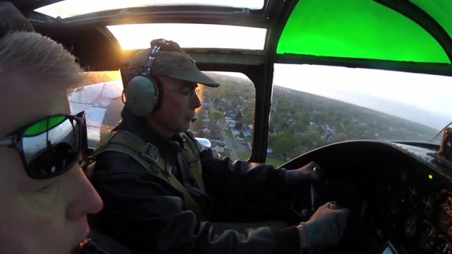 Mr Larry Kelley pilots his B25J Mitchell Bomber to the National Museum of the US Air Force near WrightPatterson Air Force Base on 17 April 2012 to...