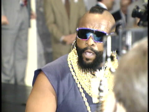 mr t talks to reporters about being at a roast for the first time on red carpet - friars roast 1993 stock videos and b-roll footage