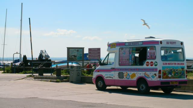mr whippy van parked in whitstable harbour - railing stock videos & royalty-free footage