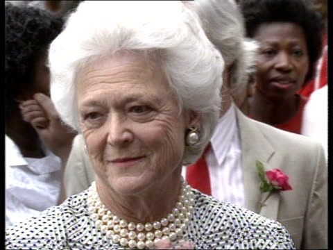 "mrs bush brixton visit; ext cms barbara bush chatting press side cameras lined up cms barbara bush pkf sof ""it's not the way he works - he doesn't... - no make up stock videos & royalty-free footage"
