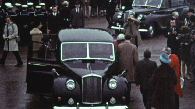 1969 montage mrs. mary wilson, prime minister harold wilson's wife, arriving for the naming ceremony of the new hoverport at pegwell bay / ramsgate, kent, england - ramsgate stock videos & royalty-free footage