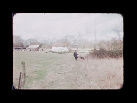 b england hertfordshire stocking pelham rooks farm farmhouse gvs farm house and fields ms dog l—r with handler gv dog with handler ms lane pan 2... - farmhouse stock videos & royalty-free footage