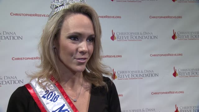 interview mrs new york america 2016 alison trenk discusses what it means for her to be here tonight and why fundraising and research is still so... - christopher and dana reeve foundation stock videos and b-roll footage