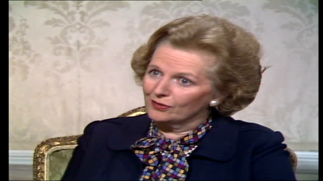 mrs thatcher interview; england: london: downing street: int margaret thatcher mp live ob interview sot. - govt policy on aids, - bothered about... - margaret thatcher stock videos & royalty-free footage