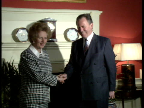 mrs. thatcher on common market; itn england: london: downing st: int gv of pm margaret thatcher greeting luxembourg prime minister m. jacques santer... - daily mail stock videos & royalty-free footage