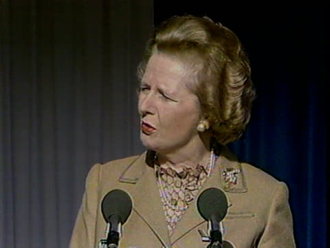 mrs thatcher speaking about the success of the m25 project at the opening ceremony of the final section of the m25 motorway. 29 october 1986. - m25 video stock e b–roll