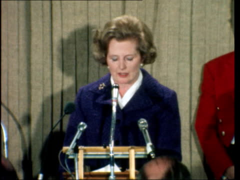 "speech at savoy; b) england: london: savoy hotel: ext mrs thatcher into savoy hotel int cms margaret thatcher speech sof: ""should the lorry... - margaret thatcher stock videos & royalty-free footage"