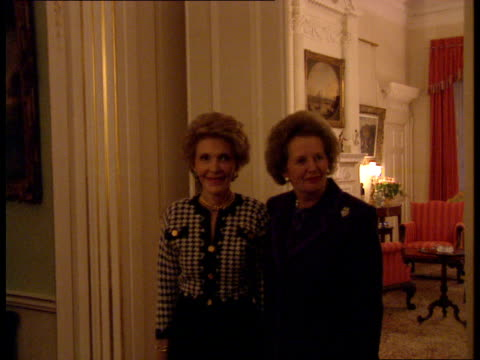 Mrs Thatcher's day Strasbourg lead up Downing Street The Prime Minister and Nancy Reagan wife of former US President Ronald Reagan posing for press...