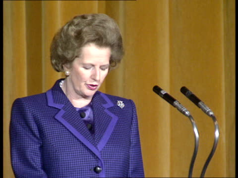 Mrs Thatcher's day Strasbourg lead up The Prime Minister speech praising changes to industry / Audience listening / The Duke of Edinburgh listening /...