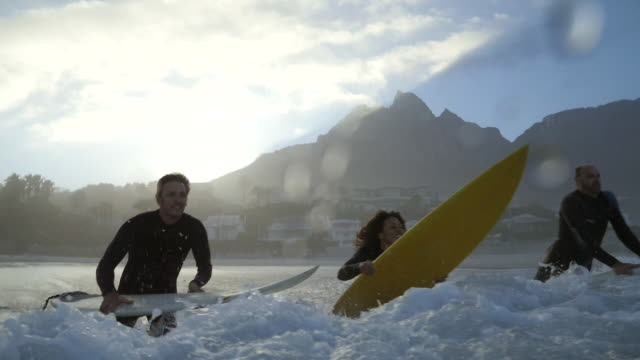 stockvideo's en b-roll-footage met ms_four surfers jumping out in the ocean with boards - surfen
