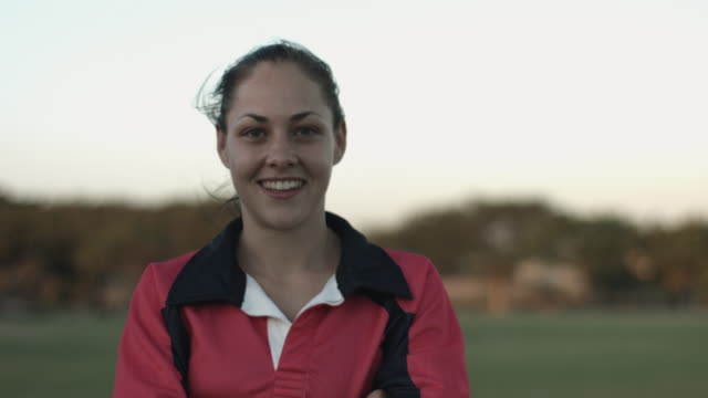 MS_Portrait of female rugby player, smiling to camera