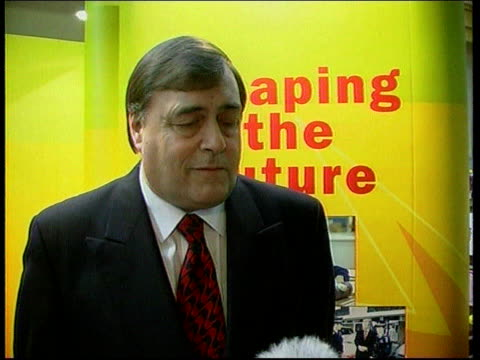 mss john prescott mp standing during interview john prescott mp interviewed sot i don't know what is meant by this soundbite of vacume at the heart... - ジョン プレスコット点の映像素材/bロール