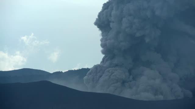mt bromo erupting active barren mountain volcano java - bromo crater stock videos & royalty-free footage
