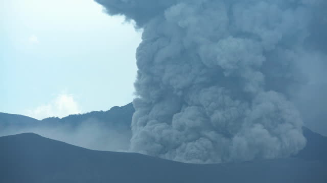 mt bromo erupting active volcanic mountain java indonesia - bromo crater stock videos & royalty-free footage