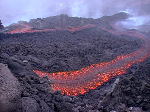 mt. etna lava flow, sicily, italy. - lava stock videos & royalty-free footage