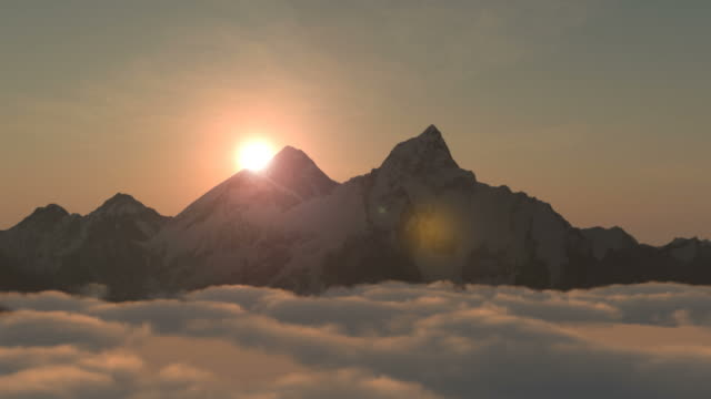 Monte Everest ou Chomolungma ao nascer do sol