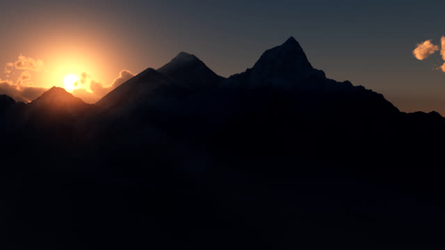 stockvideo's en b-roll-footage met mt everest or chomolungma at sunrise. - mount everest