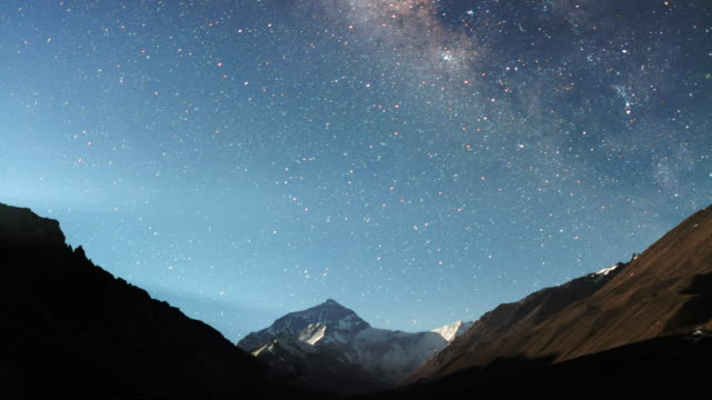 stockvideo's en b-roll-footage met mt. everest met milkyway, himalaya - mount everest
