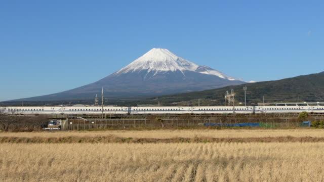 mt fuji and bullet train (shinkansen) - shinkansen stock videos & royalty-free footage
