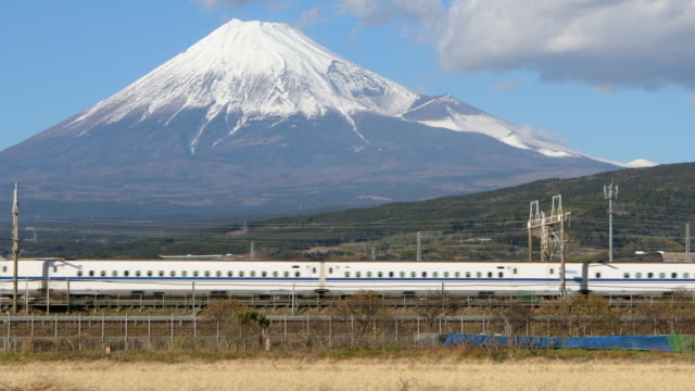 mt fuji and bullet train (shinkansen) - mt fuji stock videos & royalty-free footage