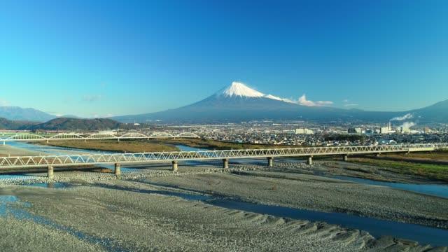 mt. fuji and fuji river from sky - shinkansen stock videos & royalty-free footage