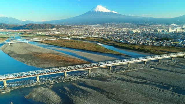 mt. fuji and fuji river from sky - mt fuji stock videos & royalty-free footage
