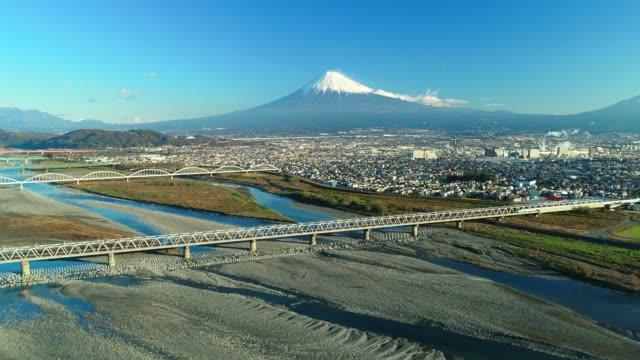 Mt. fuji and fuji river from sky