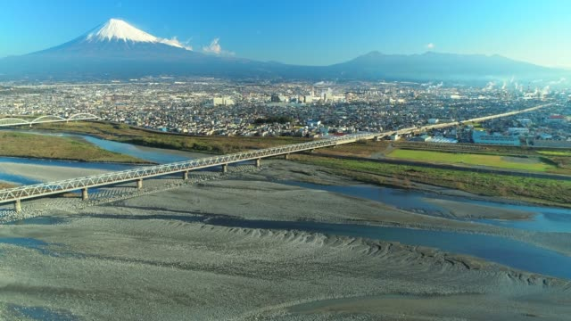 Mt. fuji and fuji river from sky