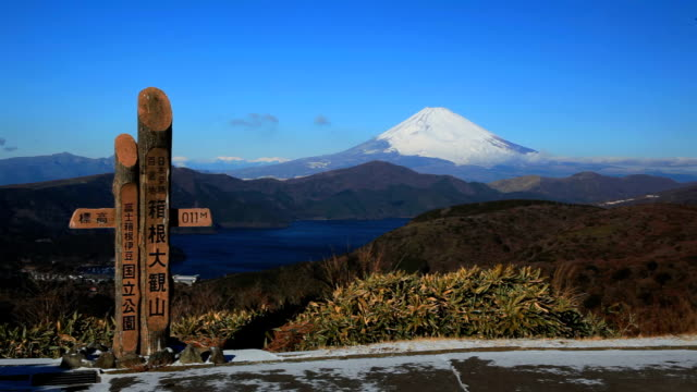 mt fuji and lake-ashi from daikan-yama in japan. - plusphoto stock videos & royalty-free footage