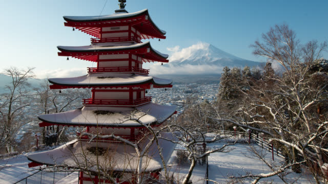 mt. fuji and pagoda in snow (tilt up) - pagoda stock videos & royalty-free footage