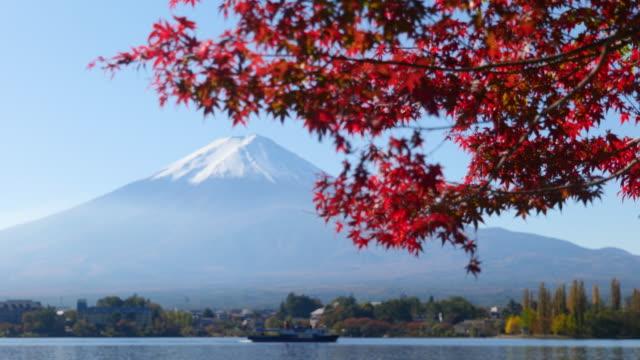 mt. fuji and red maple leaves (rack focusing) - 冠雪点の映像素材/bロール