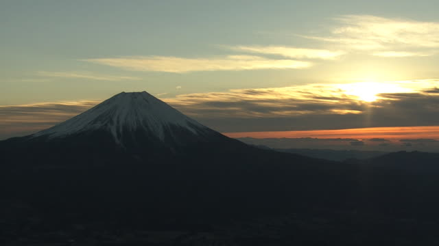 aerial, mt fuji and sunrise on new year's day, japan - mt fuji stock videos & royalty-free footage