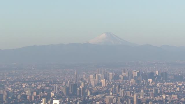 aerial, mt fuji and tokyo with skytree, japan - 正月点の映像素材/bロール