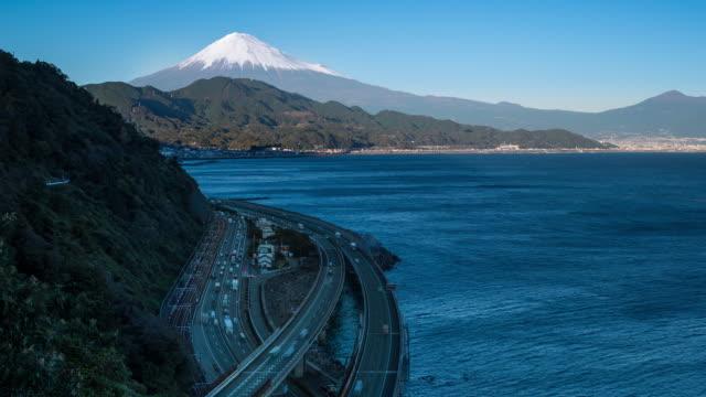 mt. fuji and traffic driving on the tomei expressway, shizuoka, honshu, japan - shizuoka prefecture stock videos and b-roll footage