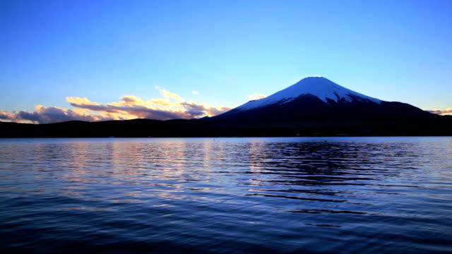 Mt Fuji and Yamanaka Lake at dusk
