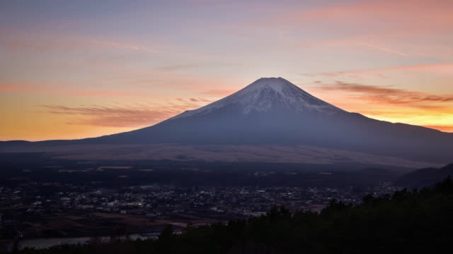 mt. fuji at a beautiful sunset - satoyama scenery stock videos & royalty-free footage