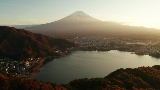 mt. fuji at sunset at lake kawaguchiko, japan. aerial view - mt fuji stock videos & royalty-free footage