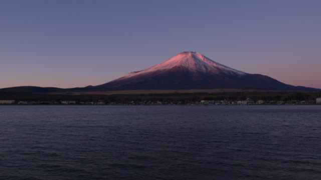 Mt. Fuji Becoming Pink and then White in the Morning