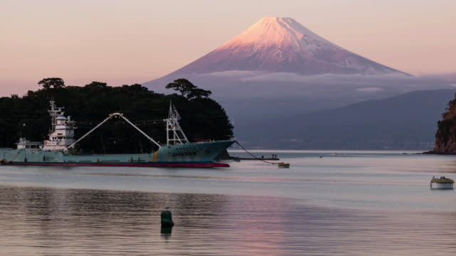 Mt. Fuji Becoming Pink at Sunset
