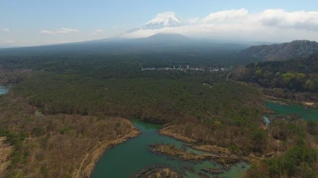 mt. fuji from shoji lake with blue sky, fuji, japan. aerial video - satoyama scenery stock videos & royalty-free footage