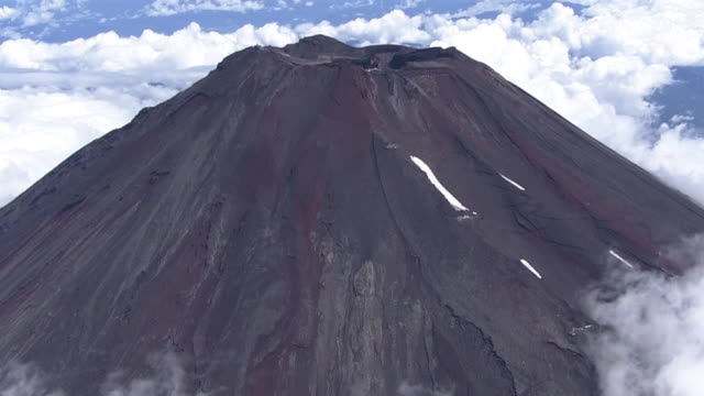 aerial, mt fuji in summer, japan - mt fuji stock videos & royalty-free footage