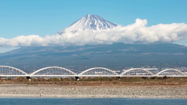 mt. fuji over a water pipe bridge - shizuoka prefecture stock videos and b-roll footage