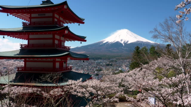 vídeos y material grabado en eventos de stock de mt. fuji over cherry blossoms and a pagoda (zoom in) - pagoda templo