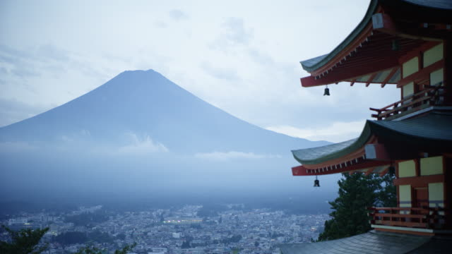 mt. fuji over fuji sengen jinja shrine, wide - mt fuji stock videos & royalty-free footage