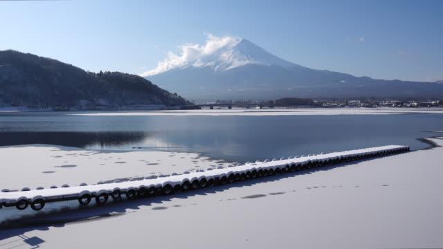 Mt. Fuji over Lake Kawaguchi in Winter