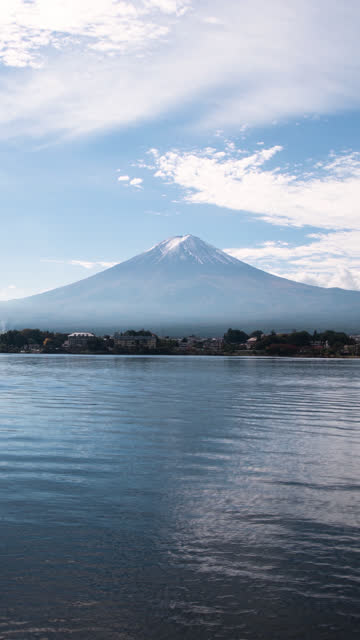 Mt. Fuji over Lake Kawaguchi on a Sunny Day