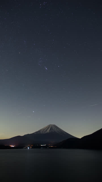 Mt. Fuji over Lake Motosu at Night